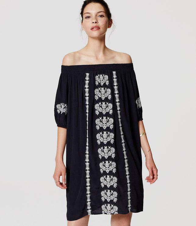 GDI - loft dress embroidered off shoulder