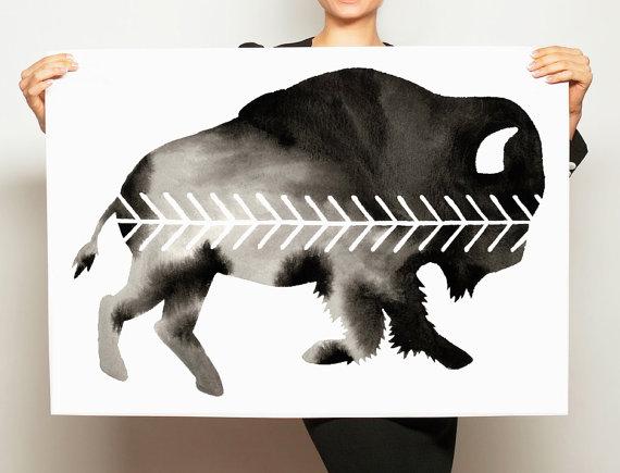 GDI - buffalo watercolor geoart