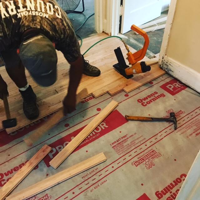 Installing hardwood over hole